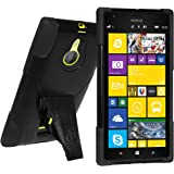 Amzer Double Layer Rugged Hybrid Case Cover with Kickstand for Nokia Lumia 1520 - Retail Packaging - Black