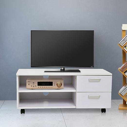 Homcom - Armario móvil Mueble de TV Mesa Tele DVD Madera con Rueda ...
