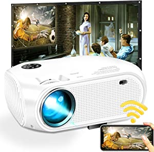 WiFi Wireless Projector 3800 Lumens, DIWUER Portable Mini Video Projectors for Home Outdoor Movie, USB Directly Connect with Smartphones, Support Full HD 1080P, USB, HDMI, VGA, AV, SD
