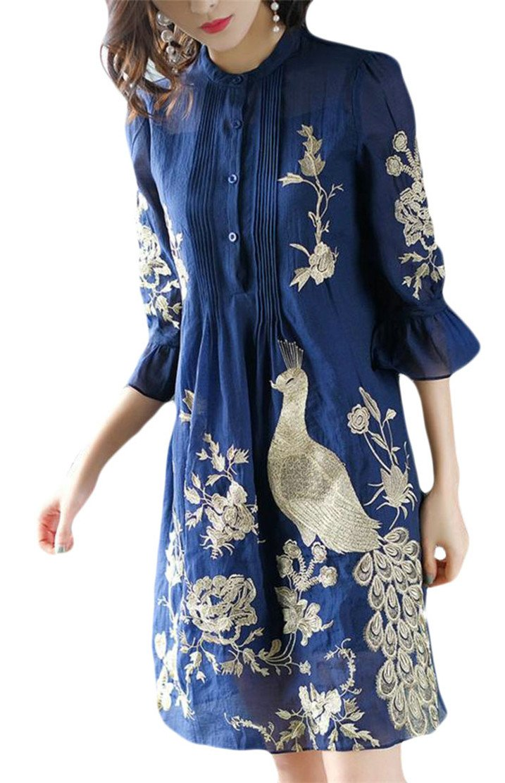 Etecredpow Womens Flared Sleeve Mesh Soft Button Cheongsam Embroidery Dress Blue XS