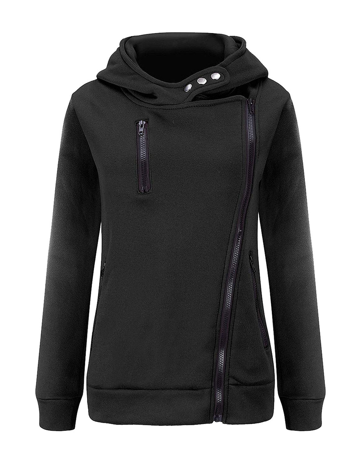 SCX Women Oblique Zipper Front Pocket Long Sleeves Solid Color Casual Pullover Tops Hoodie