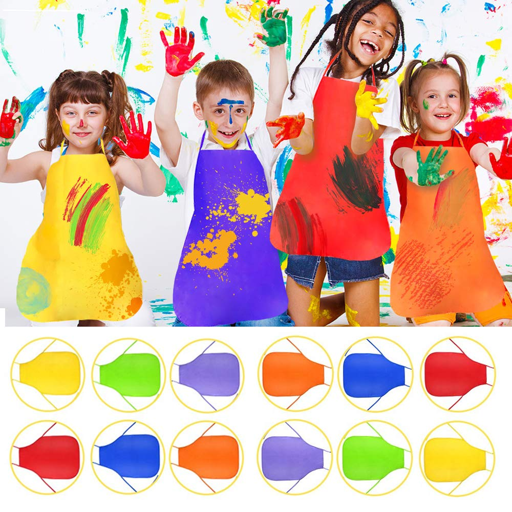 FABSELLER Children Art Smock Apron Kids Painting Aprons for Painting Artists Craft Kitchen Disposable Non-woven Fabric Apron Pack of 20 B