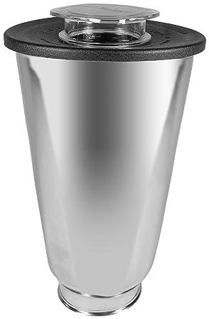 Oster 004887-050-000 - Jarra de acero inoxidable redonda 5 tazas (1.25 l) con tapa redonda, color negro y tapón de llenado: Amazon.es: Hogar