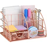 Rose Gold Desk Organizer with Drawer,File Tray and 4 Upright Sections for Pen,Marker,Paper etc, Mesh Metal Multi-Use…