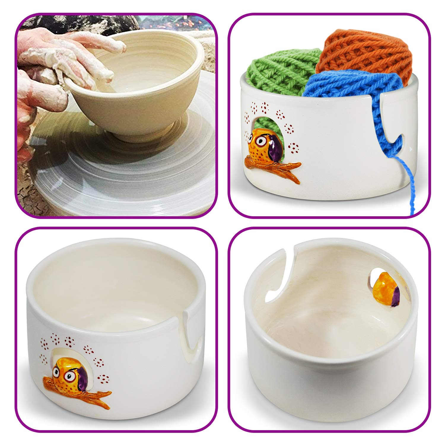 Ceramic Yarn Bowl for Crochet - Handmade Pottery Knitting Bowl Storage & Travel Pouch - Ceramic Owl Crochet Storage Organizer, Yarn Holder for Knitting and Crochet with Yarn Pouch
