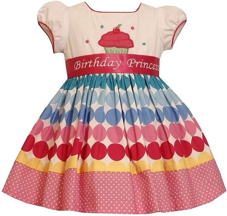 2bc2edd0c447 Amazon.com: Bonnie Jean Girls Princess Polka Dot Cupcake Birthday ...