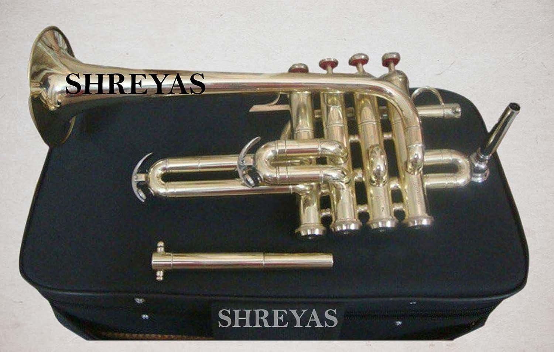 Shreyas Piccolo Trumpet Brass Finish Picollo Bb//A Pitch W//Case-Mp Gold