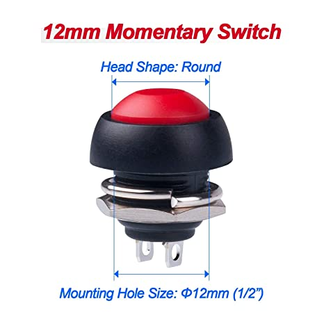 JMAF 12Pcs 1A 250V AC 2 Pins SPST Momentary Mini Push Button Switch Normal Open Pack of 12