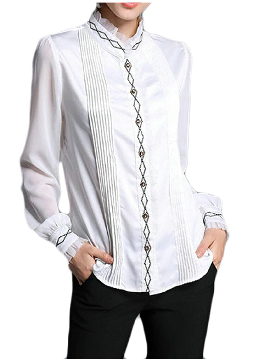Msw Women Band Collar Long Sleeved Ruched Pure Color See Through