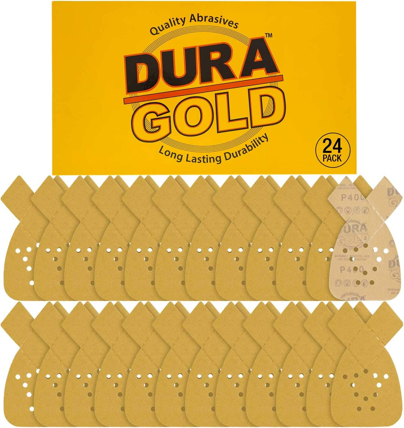 Dura-Gold - Premium Hook & Loop - 24 Sheets of 400 Grit 12-Hole Hook & Loop Sanding Sheets for Mouse Sanders - Box of 24 Sheets fits Black and Decker mouse sanders
