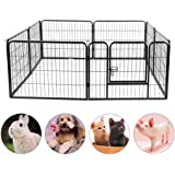 Bigbanana Pet Playpen Heavy Duty Foldable Metal Dog Crate Dog Exercise Fence Indoor Outdoor Dog Cage Kennel with Door Ideal for Pet Animals Dog Cat Rabbit (12.2'' x 9.5'')