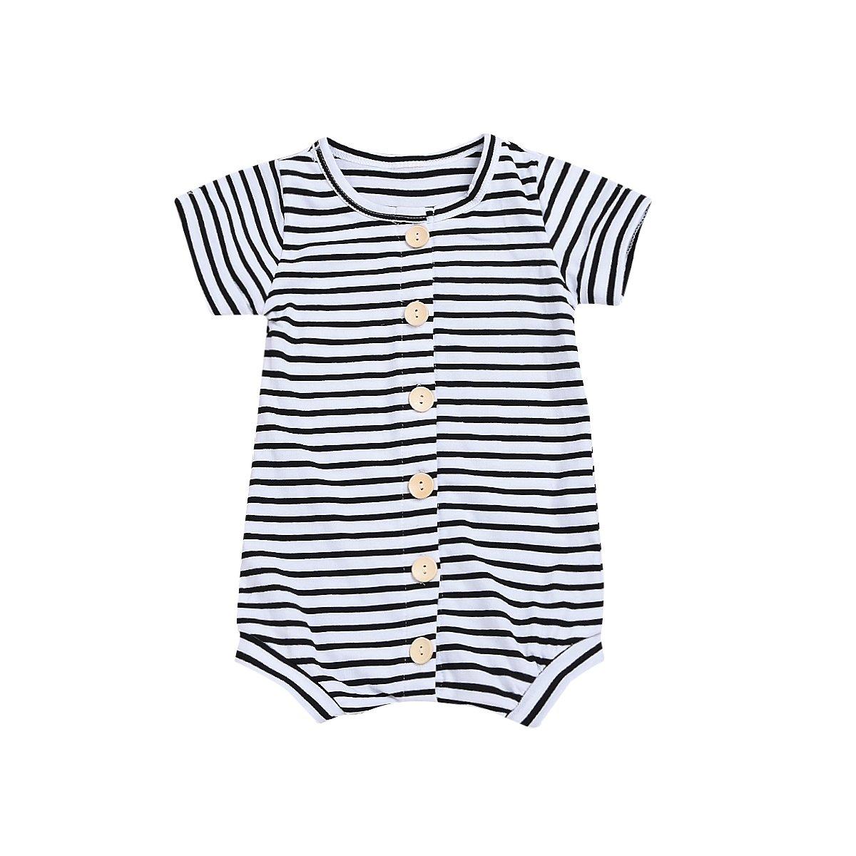 Younger Tree Infant Toddler Baby Boy Romper Summer Jumpsuit Short Sleeve Clothing Set (Stripe, 0-6 m)