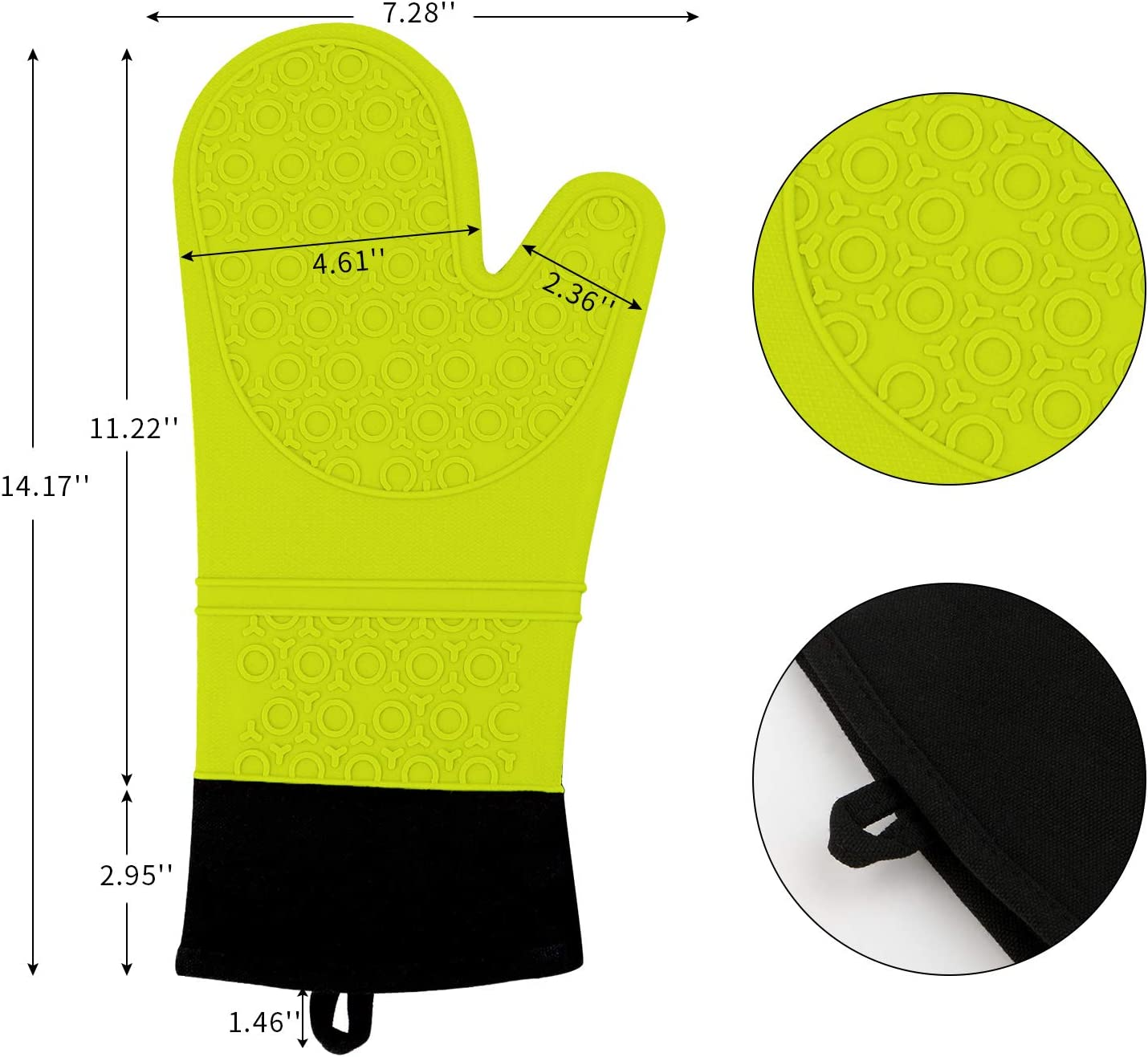 Heat Resistant Mitts Non-Slip Heavy Duty Washable Oven Gloves For Kitchen Barbecue Cooking Baking AURANSO Oven Glove Silicone