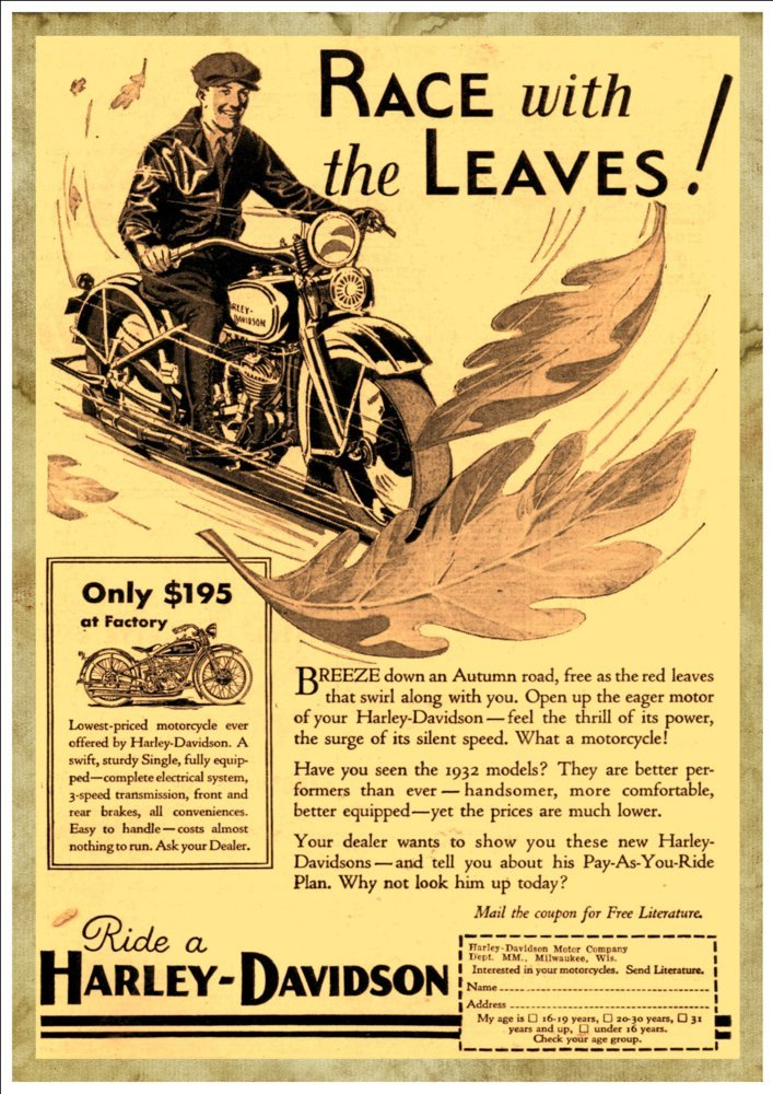 Harley-Davidson Race With The Leaves 1932 A4 Glossy Vintage Motorcycling Art Print