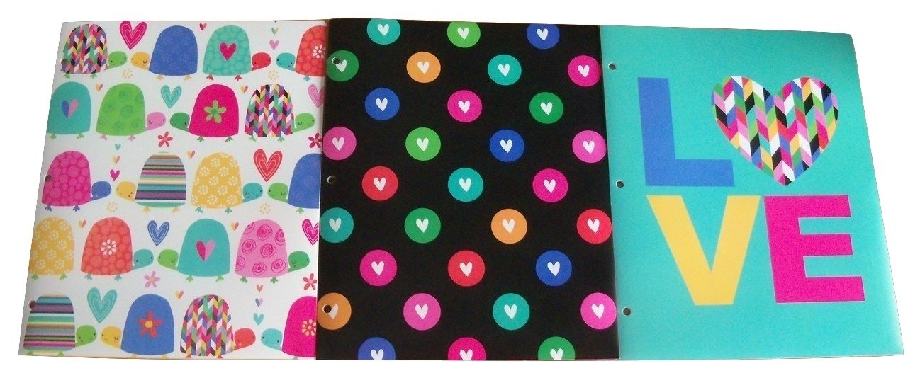 Studio C Carolina Pad Set of 3 Poly Folders ~ Happy Go Lucky (Turtle Love, Colorful Hearts of Love, Loving Heart) by Studio C