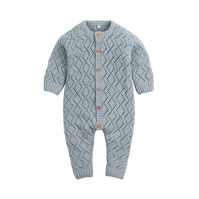e53e5d1402fd9 Ziyunlong Baby Knit Sweater Romper Newborn Long Sleeve Breathable Jumpsuit  One Piece Overall Infant Baby Winter
