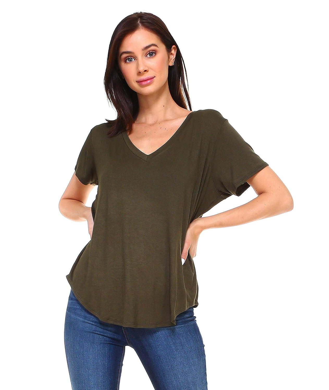 50989e2aa46 Isaac Liev Women s Short Sleeve V-Neck Boyfriend Loose Boy tee Boy-tee Fit  Tunic Top at Amazon Women s Clothing store