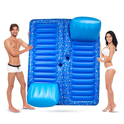 Face to Face 2-Person Inflatable Raft for Swimming Pools, Lakes, Beach & More - Comfortable Lounger Water Pool Raft with Cup Holders – Lounging Pool Floats for Adults & Kids Indoor/Outdoor Friendly: Toys & Games