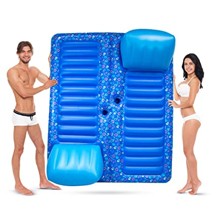 Sol Coastal Face to Face 2-Person Swimming Pool Lounge Raft with Cup Holders