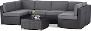 SUNCROWN Outdoor Patio Furniture 7-Piece Sofa Set Black Brown Wicker, Washable Seat Cushions with YKK Zippers and Modern Glass Coffee Table(Grey Cushion)
