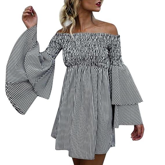 f31a2ab7746a7 Vicbovo Women Fashion Summer Striped Off Shoulder Flare Sleeve Ruffled Mini  Dress Shirt Dresses