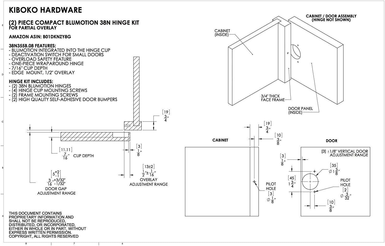 Nickel Finish Pack of 10 Blum 38N355BE08x10 Compact Soft-Close 1//2 Overlay Blumotion Hinge