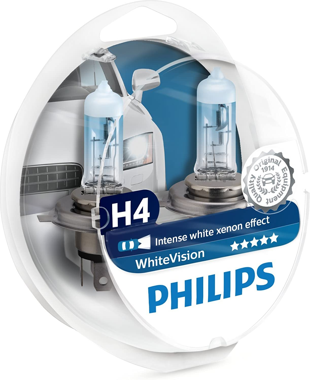Philips 12342WHVSM Faros delanteros con efecto de xenón blanco H4, 3700K, paquete doble