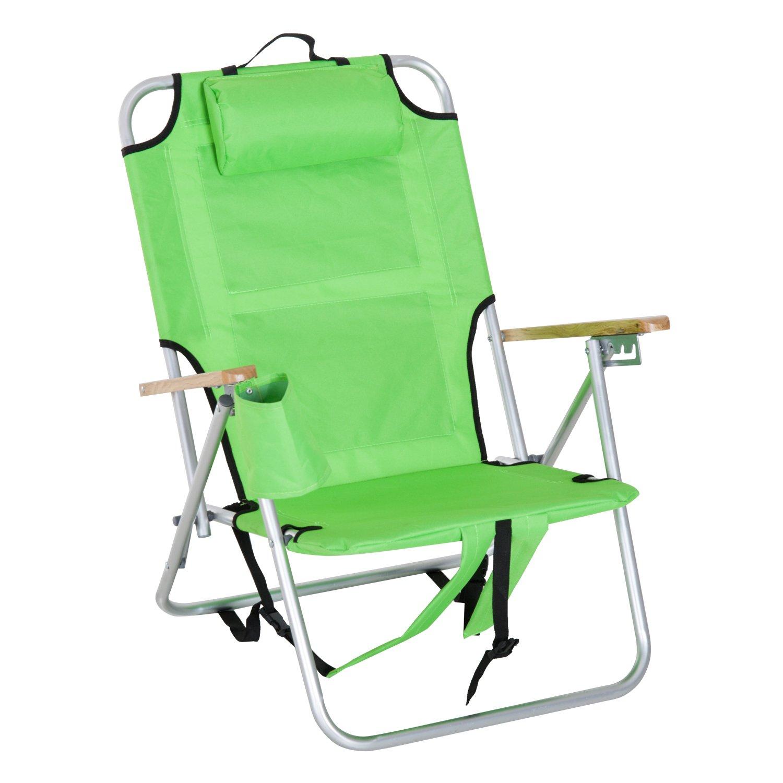 Outsunnyアルミポータブル折りたたみリクライニングアウトドアQuadビーチキャンプ椅子バックパックwithヘッドレストとストレージ US84B-178GN0131 B07BT4NF6H グリーン グリーン