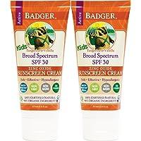 Badger Kids Sunscreen Cream SPF 30, 2.9 oz, 2 Pack