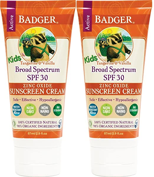 Badger - SPF 30 Kids Sunscreen Cream, Tangerine and Vanilla - 2.9 Fl Oz Tube (2 Pack) Best Kids Sunblocks