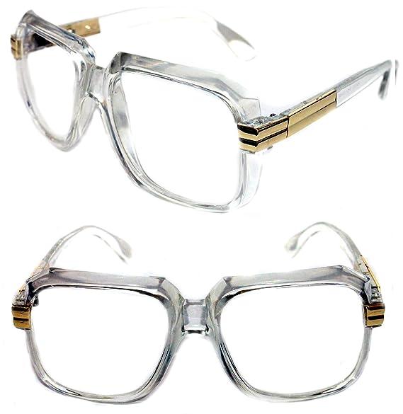 0e09b7ce4fcb Amazon.com  MEN S Hip Hop 80 s Gazelle Vintage Clear Gold Frame ...