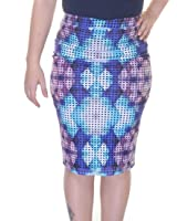 Bar III Women's Printed Laser-Cut Pencil Skirt