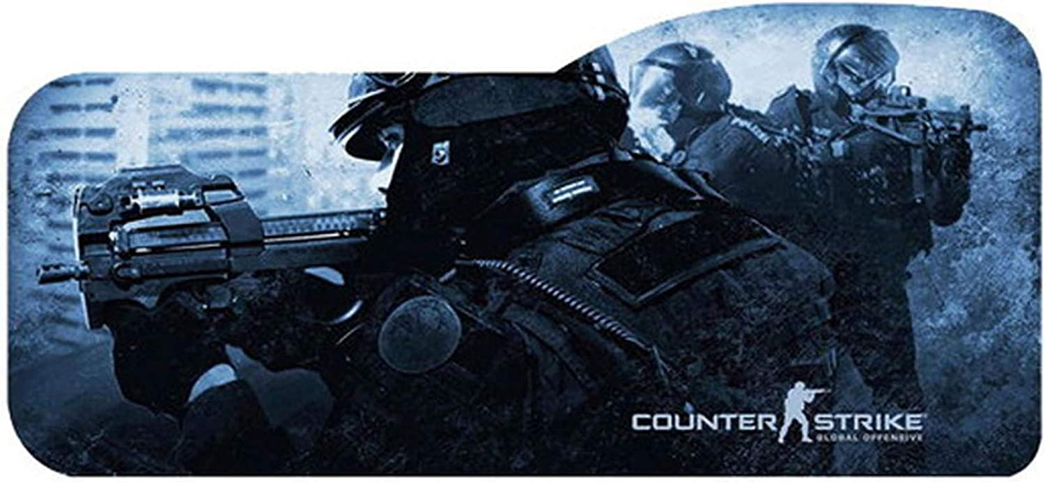 Extended Gaming Mouse Pad Large Curved Mousepad Computer Laptop Keyboard Desk Mat Waterproof Mousepad with Stitched Edges Anti Slip Rubber Base Desk Pad for Gamer School Office Home (Csgo Soldier)