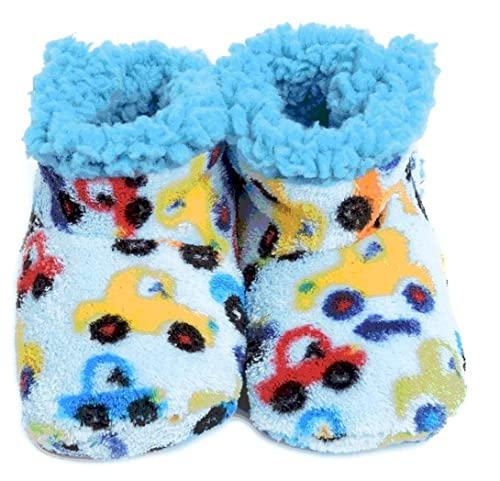 Skidders Plush Booties Bumper Cars 0-6M light blue Sherpa lining