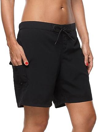 Sociala Long Board Shorts Women s Swimwear Stretch Swim Shorts Black  Boardshorts 69e79edac