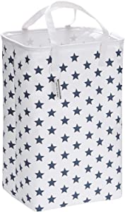 """Sea Team 23.6"""" Large Size Canvas Fabric Laundry Hamper Collapsible Rectangular Storage Basket with Waterproof Coating Inner and Handles, Navy Blue Star"""
