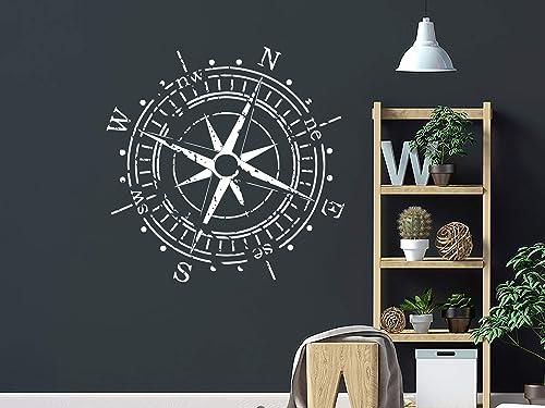 Nautical Compass Wall Decal Navigate Ship Vinyl Sticker Decals Compass Ocean Sea Living Room Bedroom Nursery Wall Deco A416 Wall Stickers Aliexpress