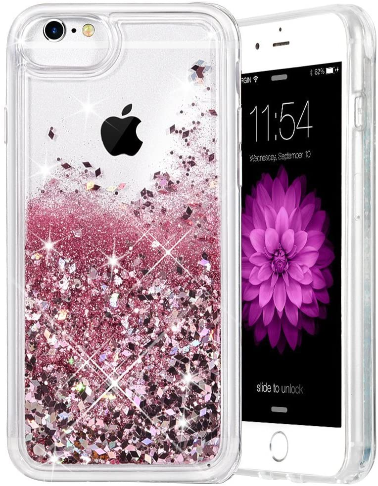Caka iPhone 6 Plus Case, iPhone 6S Plus Glitter Case for Girls Women Liquid Floating Bling Glitter Sparkle Soft TPU Case for iPhone 6 Plus 6S Plus 7 Plus 8 Plus (5.5 inch) (Rose Gold)