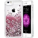 iPhone 6S Plus Case, Caka Flowing Liquid Floating Luxury Bling Glitter Sparkle TPU Bumper Case for iPhone 6 Plus/6S Plus/7 Plus/8 Plus (5.5 inch) - (Rose Gold)