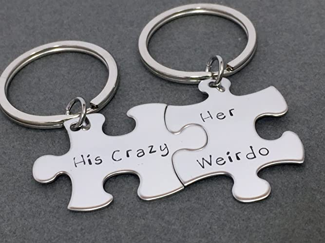 Amazon.com  His Crazy Her Weirdo Keychains Couples Keychains Puzzle Piece  Keychain Set 98e017e6f7
