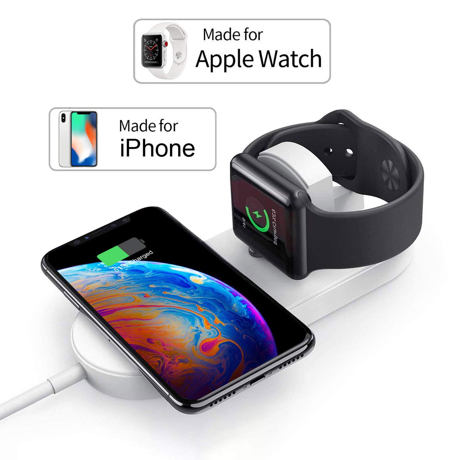 Wireless Charger for Apple Watch, TOGOO Magnetic Wireless Charger 2 in 1 Charging Pad Stand Compatible for with for iPhone Xs/XS MAX/XR/X/ 8/ Plus/iWatch Series 4/3/2/1 38mm 42mm