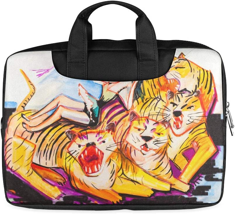 13 Inch Artistic Oil Street Paintings Case for Laptop with Handle Lightweight Laptop Briefcase Bag Fits MacBook Air Pro
