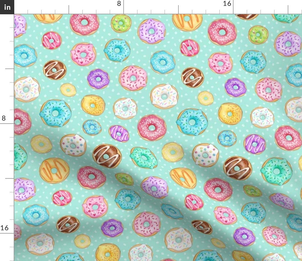 Spoonflower Fabric - Scattered Rainbow Donuts Mint Colourful Fun Sweet Food Treat Printed on Petal Signature Cotton Fabric by The Yard - Sewing Quilting Apparel Crafts Decor