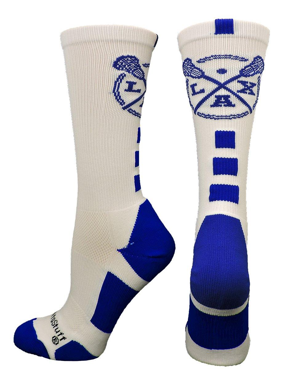 MadSportsStuff LAX Lacrosse Socks Lacrosse Sticks Athletic Crew Socks (White/Royal, Medium)