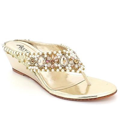 AARZ LONDON Femmes Dames Cristal Diamante Soir Mariage Fête Bal de Promo de Mariée Confort Talon Bas compensé Glisser sur des Sandales Chaussures Taille