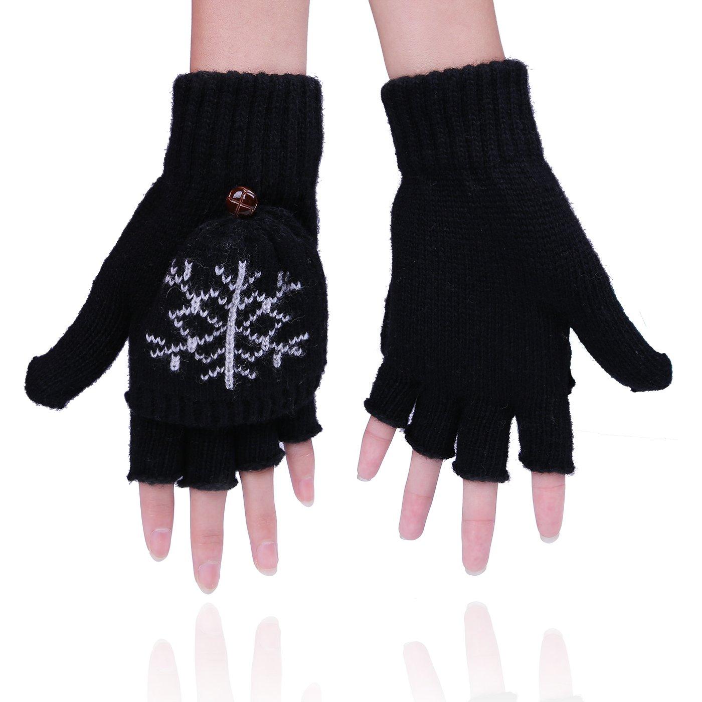HDE Womens Fingerless Winter Gloves Convertible Texting Knit Mittens