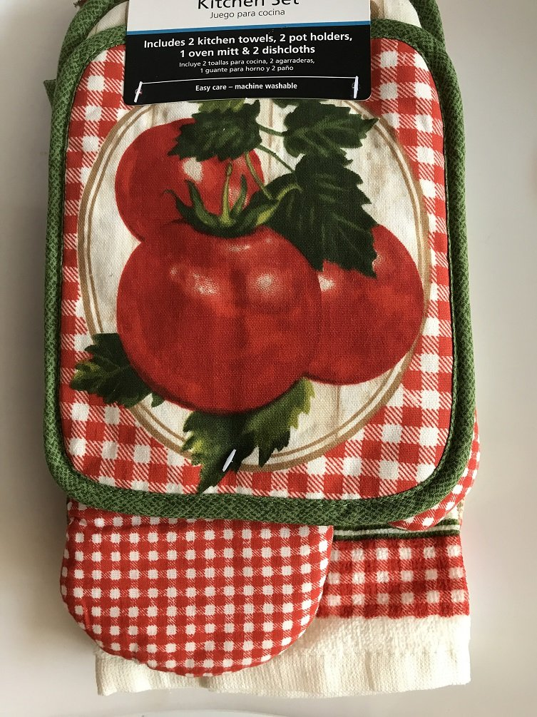 Amazon.com: Summer Red Tomatoes Towel Kitchen Set 2 Towels, 2 Pot Holders and 1 Oven Mitt: Home & Kitchen