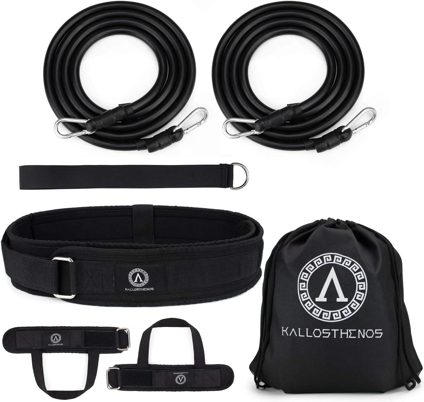 Kallosthenos™ Cinturón de Natación para Piscina + Con Elástico de Resistencia para Nado Estacionario – Adultos y Niños – Kit Completo con Ajuste para Cintura y para Tobillos