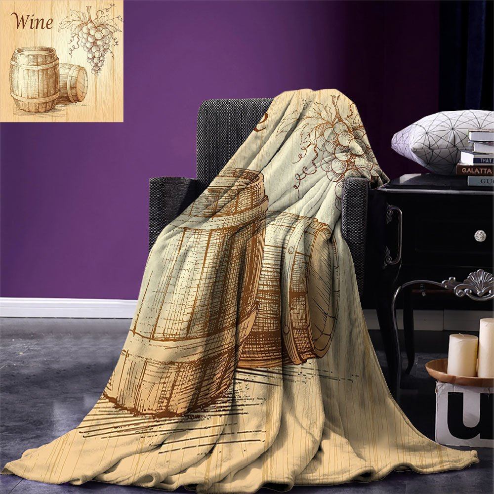 smallbeefly Wine Digital Printing Blanket Wooden Barrels and Bunch of Grapes on Wood Backdrop Botany Harvest Theme Artwork Summer Quilt Comforter Brown Peach