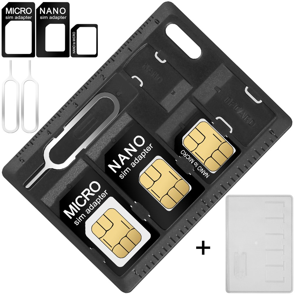 AFUNTA SIM Card & MicroSD Holders with 2 Tray Opener Pins, 2 Packs Card Storage Cases for Standard Micro Nano Micro-SD Memory Cards, with 3 Card Adapters and 2 Eject Pins AF-card_holder_2